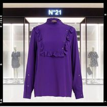 N21 numero ventuno Silk Long Sleeves Plain Medium Elegant Style