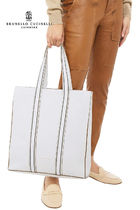 BRUNELLO CUCINELLI Casual Style A4 Plain Leather Office Style Totes