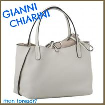 GIANNI CHIARINI Plain Leather Elegant Style Handbags