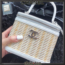 CHANEL ICON Casual Style Calfskin Blended Fabrics Vanity Bags 3WAY