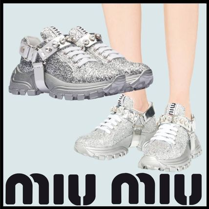 Rubber Sole Lace-up Casual Style With Jewels Glitter Logo
