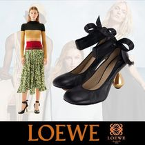 LOEWE Round Toe Casual Style Sheepskin Plain Block Heels