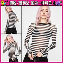 DOLLS KILL Stripes Casual Style Long Sleeves Medium Shirts & Blouses