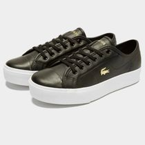 LACOSTE Platform Plain Leather Logo Platform & Wedge Sneakers