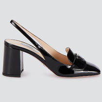 PRADA Square Toe Plain Leather Block Heels Logo