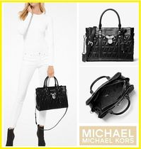 Michael Kors 2WAY Plain Leather Elegant Style Satchels