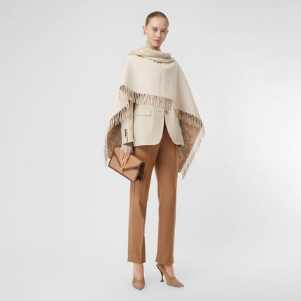 Burberry Wool Cashmere Fringes Logo Ponchos & Capes