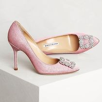 Manolo Blahnik Hangisi Blended Fabrics Plain Leather Pin Heels With Jewels