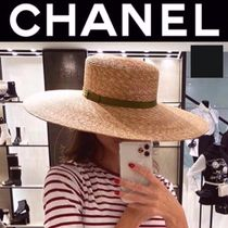 CHANEL ICON Blended Fabrics Studded Street Style Straw Hats