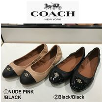 Coach Round Toe Rubber Sole Casual Style Plain Office Style Flats