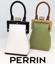 PERRIN Paris 2WAY Plain Leather Party Style Elegant Style Shoulder Bags
