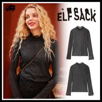 ELF SACK Lace-up Street Style Long Sleeves Medium High-Neck Lace
