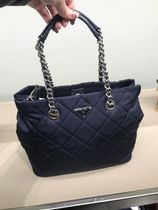 PRADA Casual Style Nylon Blended Fabrics A4 Chain Shoulder Bags