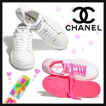 CHANEL ICON Casual Style Street Style Bi-color Plain Leather Party Style