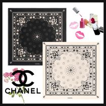 CHANEL ICON Casual Style Unisex Silk Blended Fabrics Street Style Cotton
