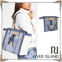 River Island Faux Fur Chain Other Animal Patterns Elegant Style Totes