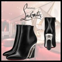 Christian Louboutin Casual Style Plain Leather Block Heels Party Style
