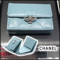 CHANEL 2020 SS SMALL FLAP WALLET blue folding wallets