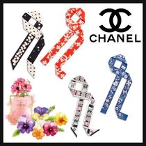 CHANEL ICON Heart Flower Patterns Casual Style Silk Street Style