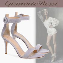 Gianvito Rossi Open Toe Casual Style Suede Blended Fabrics Plain Leather