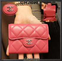 CHANEL TIMELESS CLASSICS Lambskin Plain Leather Coin Cases
