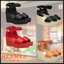 HERMES Casual Style Leather Elegant Style Platform & Wedge Sandals