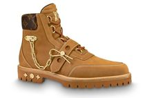 Louis Vuitton Plain Toe Suede Chain Leather Logo Engineer Boots