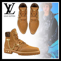 Louis Vuitton Plain Toe Suede Chain Leather Engineer Boots