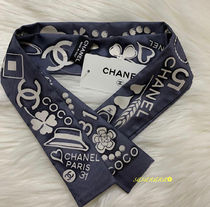 CHANEL ICON Silk Blended Fabrics Plain Special Edition Elegant Style