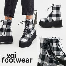 Koi Footwear Other Check Patterns Platform Round Toe Lace-up Casual Style