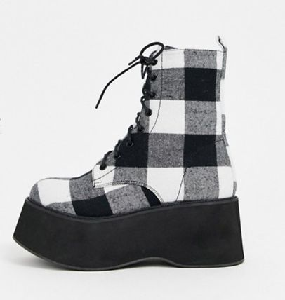 Other Plaid Patterns Platform Round Toe Lace-up Casual Style