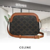 CELINE Triomphe Canvas Casual Style Calfskin Canvas Plain Party Style Office Style