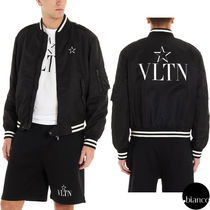 VALENTINO Short Star Nylon Bi-color MA-1 Oversized Logo Bomber Jackets