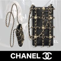 CHANEL Casual Style Lambskin Studded Chain Plain Party Style
