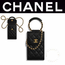 CHANEL MATELASSE Casual Style Calfskin Street Style 2WAY Chain Plain Leather
