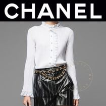 CHANEL ICON Casual Style Street Style Long Sleeves Plain Cotton Handmade