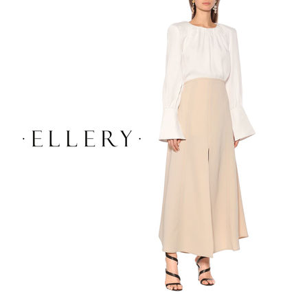 Casual Style Maxi Pleated Skirts Plain Long Office Style