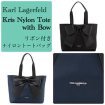 Karl Lagerfeld Casual Style Nylon Faux Fur Office Style Totes