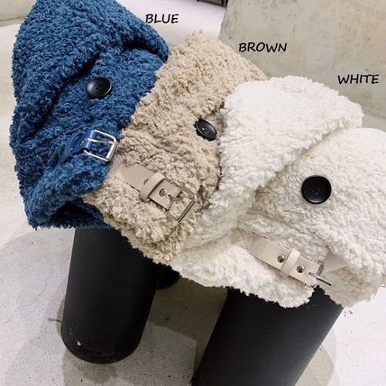 Stand Collar Coats Faux Fur Blended Fabrics Street Style