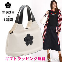 MARY QUANT Flower Patterns Casual Style Canvas Plain Office Style Totes