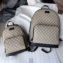 GUCCI GG Supreme Casual Style Unisex Street Style Leather Logo Backpacks