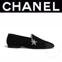 CHANEL ICON Star Plain Toe Casual Style Suede Blended Fabrics Studded