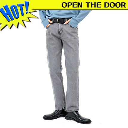 OPEN THE DOOR More Jeans Unisex Street Style Plain Cotton Jeans