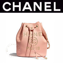 CHANEL ICON Casual Style Calfskin Blended Fabrics Studded Street Style