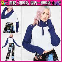 DOLLS KILL Cable Knit Short Casual Style Long Sleeves Turtlenecks