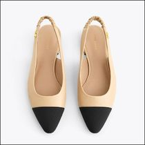 Uterque Leather Slingbacks with Contrast Toe Caps