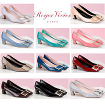 Roger Vivier Square Toe Enamel Blended Fabrics Plain Leather Block Heels