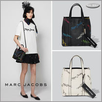 MARC JACOBS THE TAG TOTE Casual Style 2WAY Bi-color Plain Leather Office Style
