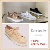 kate spade new york Lace-up Casual Style Plain Leather Low-Top Sneakers