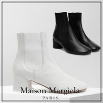 Maison Margiela Square Toe Leather Elegant Style Ankle & Booties Boots
